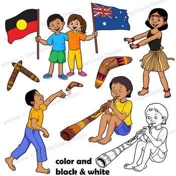 Kids Clip Art: Indigenous Australian Children Clipart.