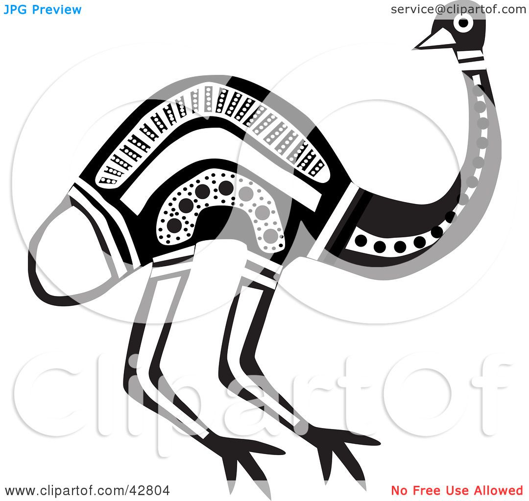 Clipart Illustration of a Black And White Aboriginal Emu Bird by.