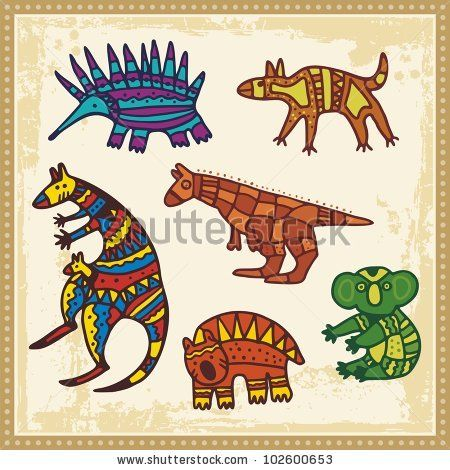 Vector set of animals in Australian aboriginal style. by Clipart.