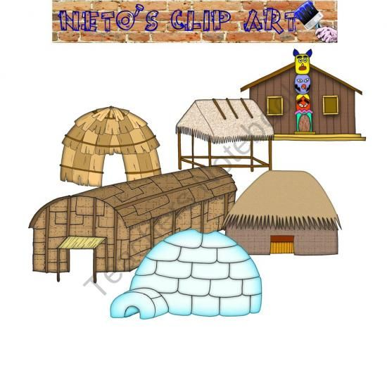 Native American homes clipart set from Netos Clip Art on.