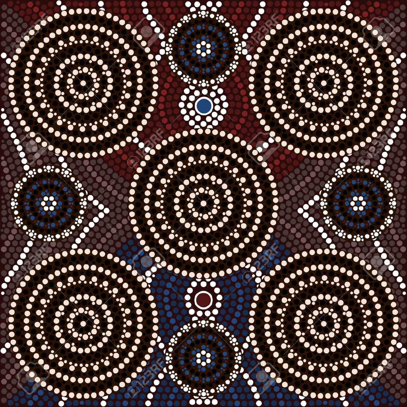 A Illustration Based On Aboriginal Style Of Dot Painting Depicting.