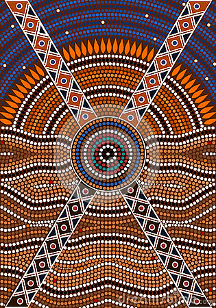 A Illustration Based On Aboriginal Style Of Dot Painting Depicti.