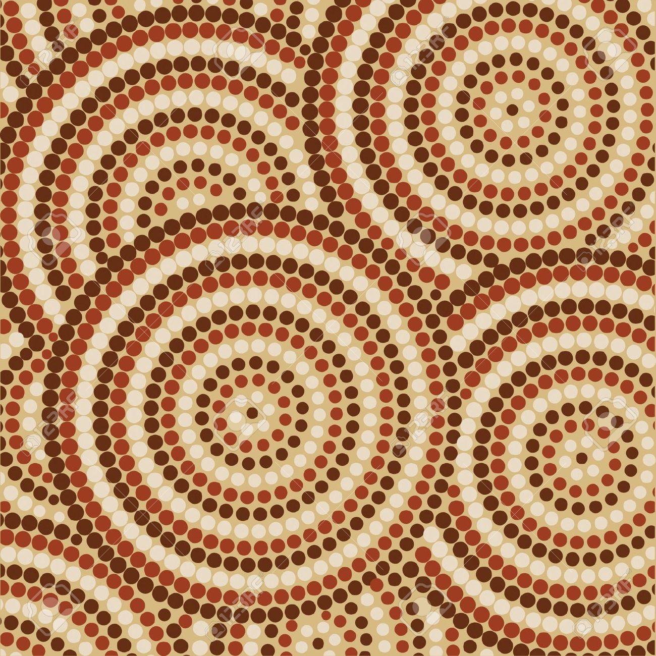 Abstract Aboriginal Dot Painting Royalty Free Cliparts, Vectors.