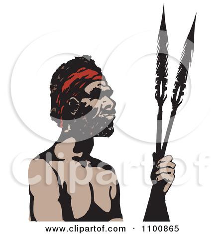 Clipart Australian Aboriginal Man Holding Spears.