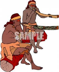 Colorful Cartoon of Aborigines Playing Didgeridoos.