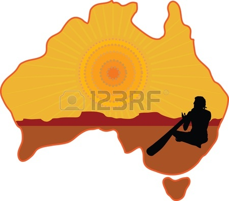 A Stylized Map Of Australia With A Silhouette Of An Aboriginal.