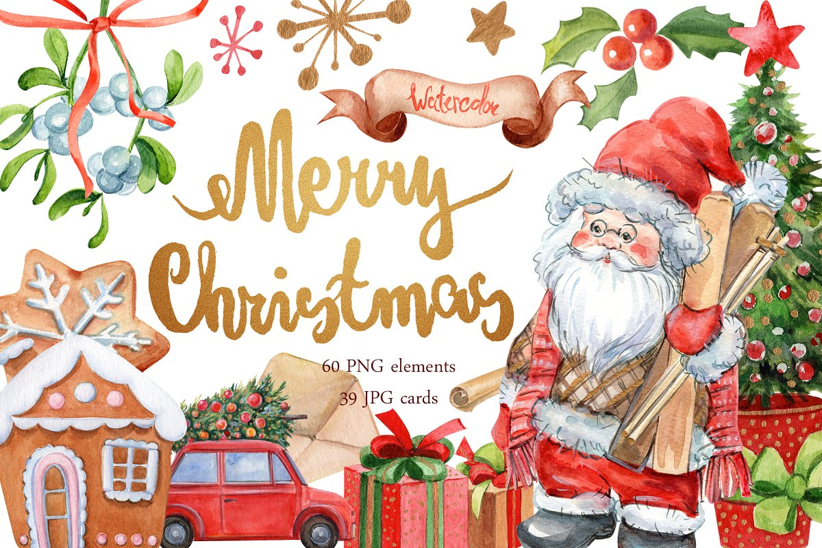 Watercolor Merry Christmas ~ Illustrations ~ Creative Market.