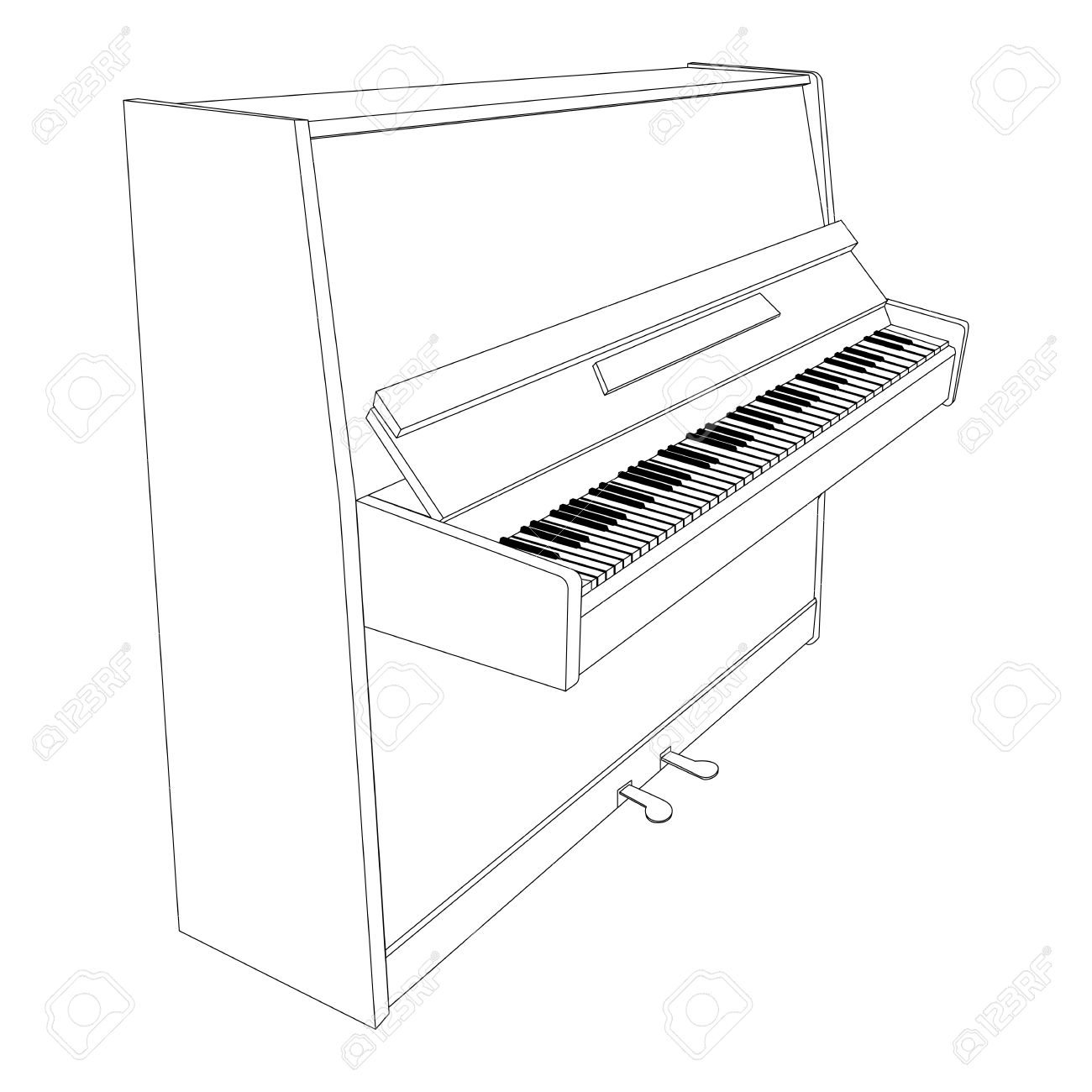Open Piano Contour With Keyboard, Pedals And Desk Royalty Free.