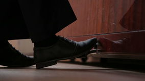 Boy Musician Foot Is Presses The Piano Pedal Stock Footage.