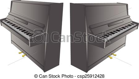 Vector Illustration of opened piano drawing with pedals.