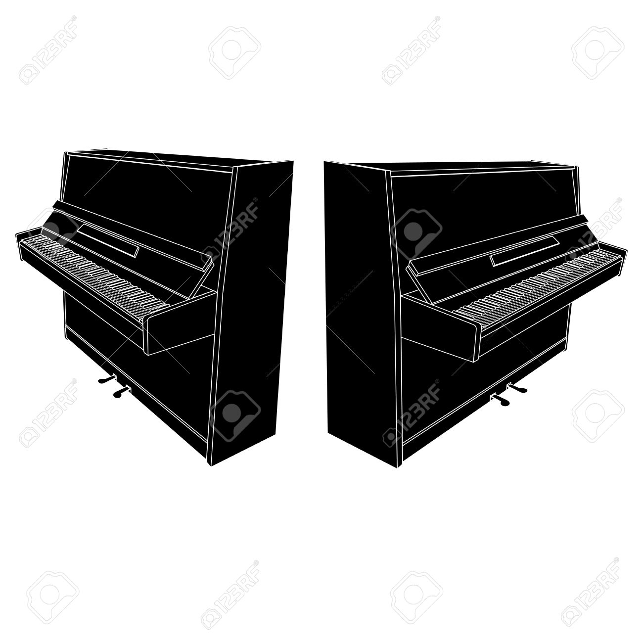 Open Piano Silhouette With Keyboard, Pedals And Desk Royalty Free.