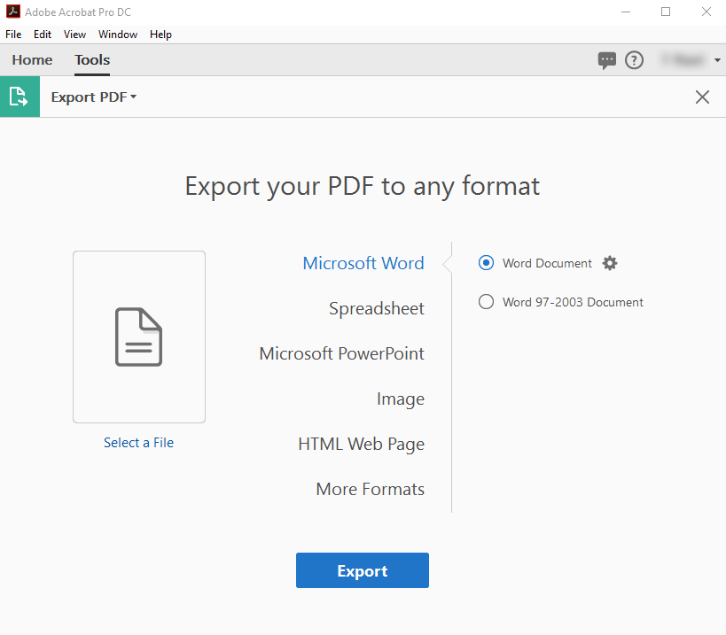 File format options for PDF export, Adobe Acrobat.