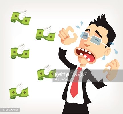 Businessman lose money. Vector flat illustration Clipart.