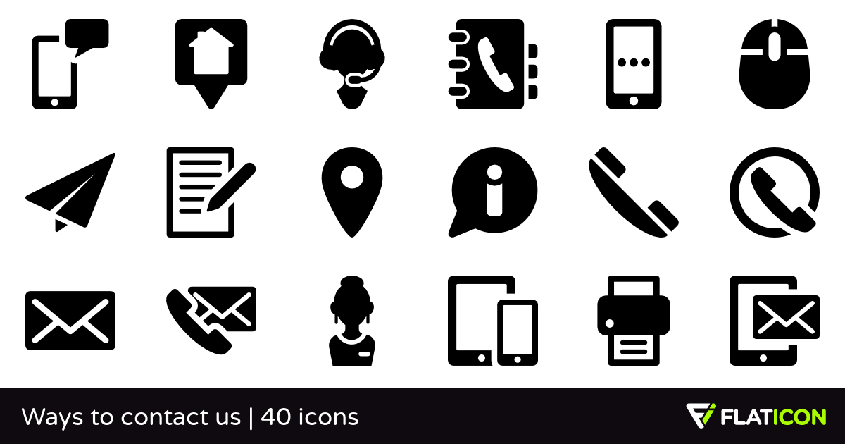Ways to contact us 40 premium icons (SVG, EPS, PSD, PNG files).