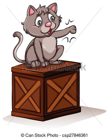 Clip Art Vector of A cat above the box.