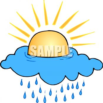 Royalty Free Clip Art Image: Sun Shining Above a Raincloud.