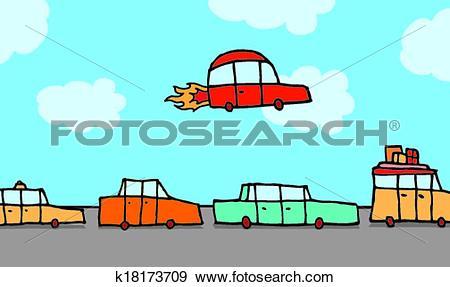 Clip Art of Flying car gets above traffic k18173709.