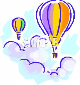 Colorful Cartoon of Hot Air Balloons Floating Above the Clouds.