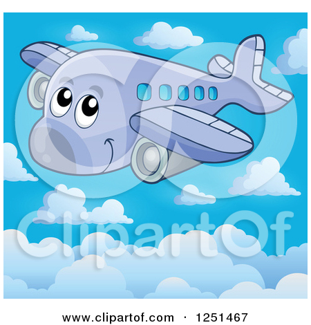 Clipart of a Happy Cute Airplane Above the Clouds.