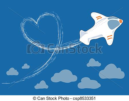 Vector Clip Art of flight above the clouds.