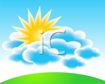 Sun above the Clouds Clip Art.