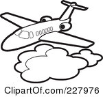 Airplane above Clouds Clip Art.