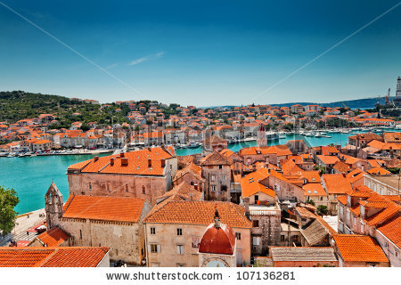 Above the roofs of trogir clipart #17