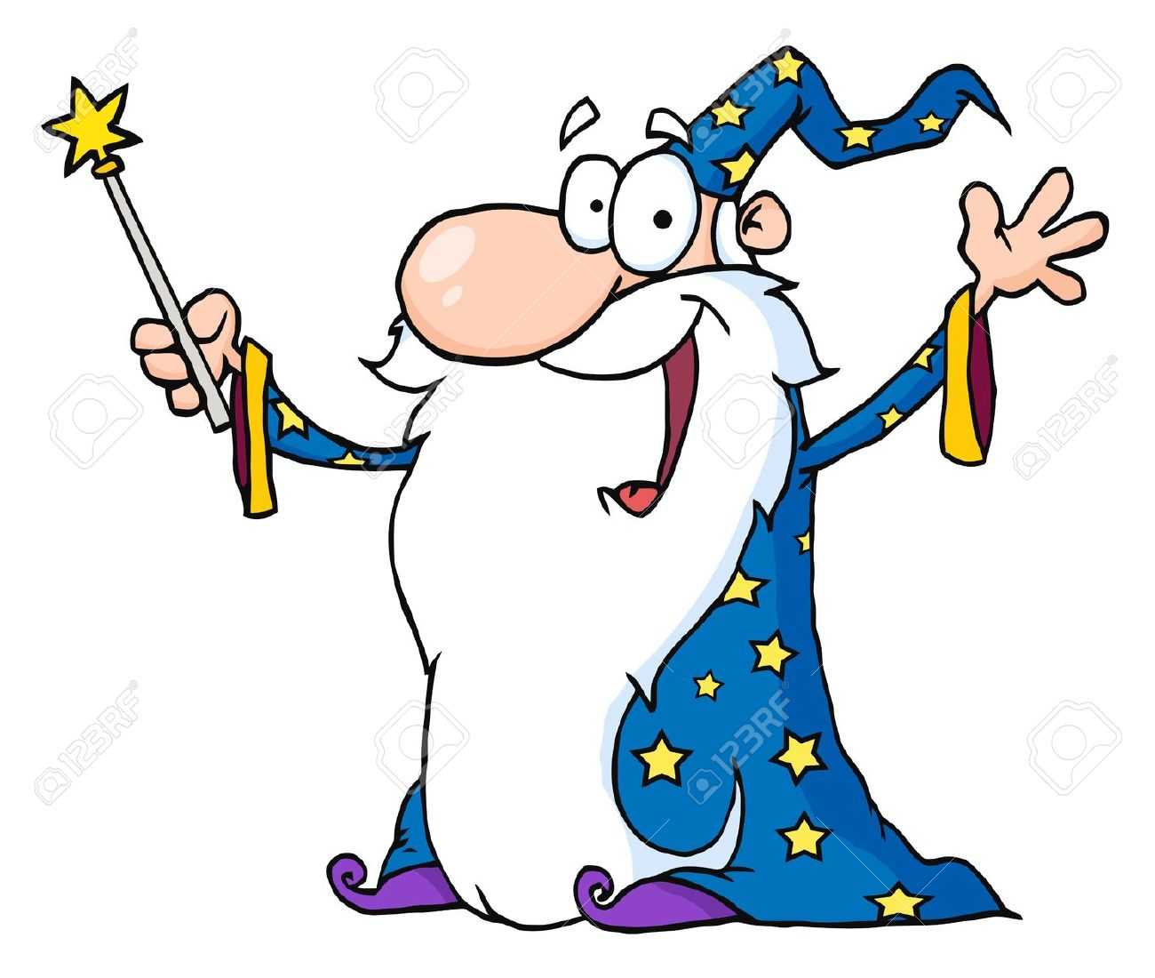 Wizard Waving And Cape Holding A Magic Wand Royalty Free Cliparts.