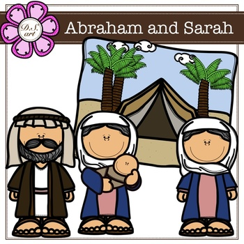 Abraham and Sarah digital Clipart (color and black&white).