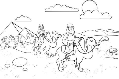 Abram & Sarai leaving Egypt coloring page.