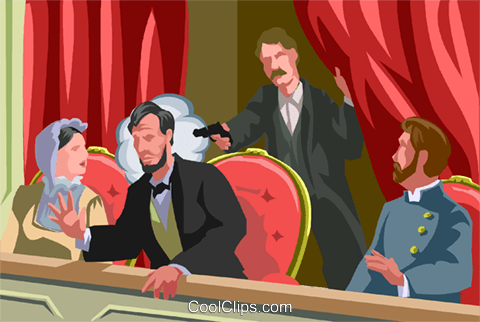 Assassination of Lincoln Royalty Free Vector Clip Art.