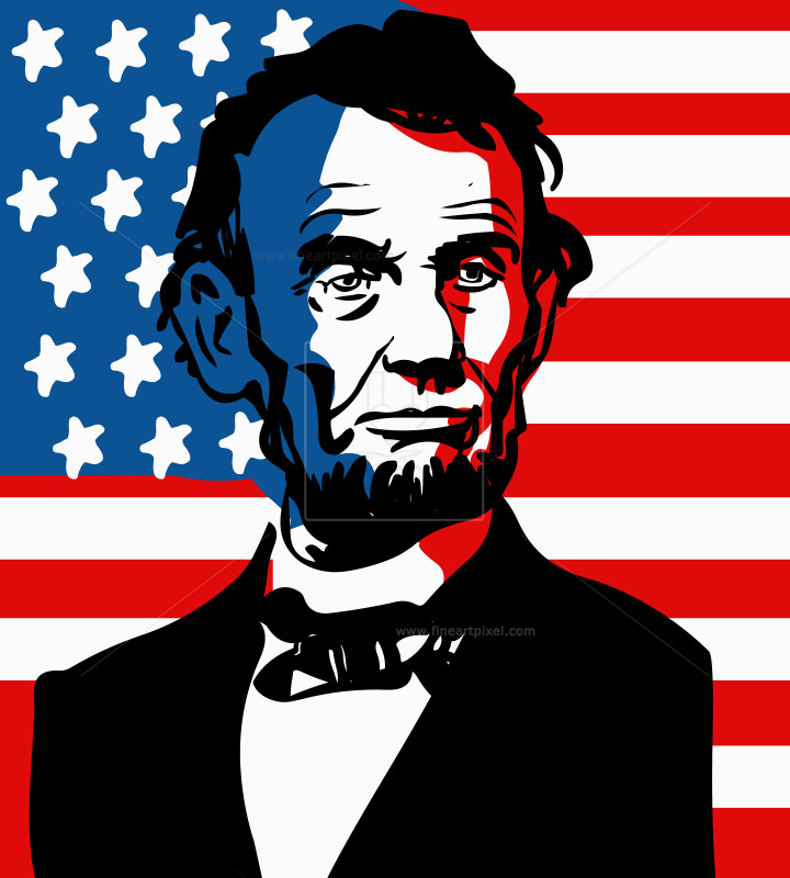 Abraham Lincoln July 4th Illustration.