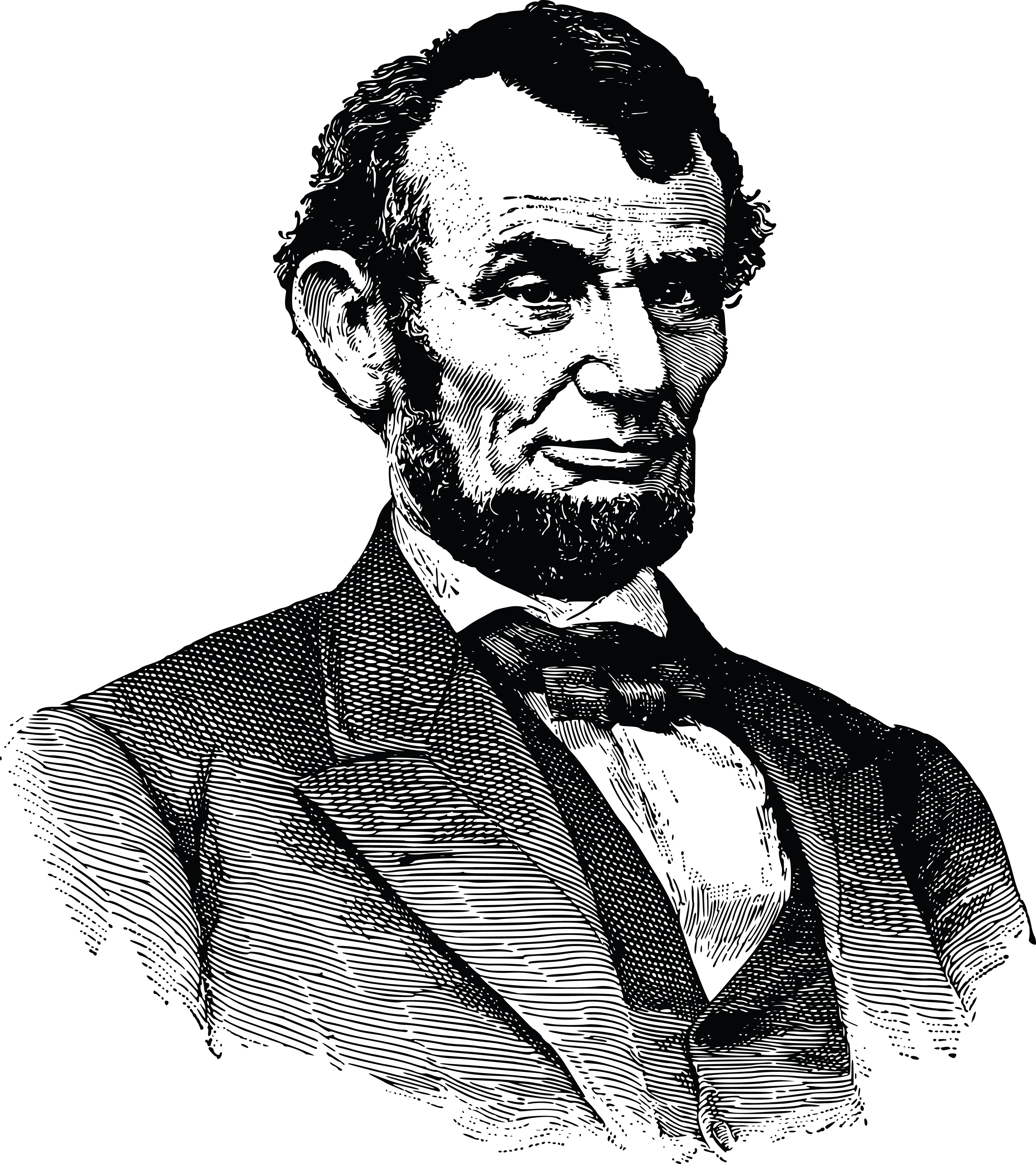 Free Clipart Of A Black and White Portrait of Abraham Lincoln.