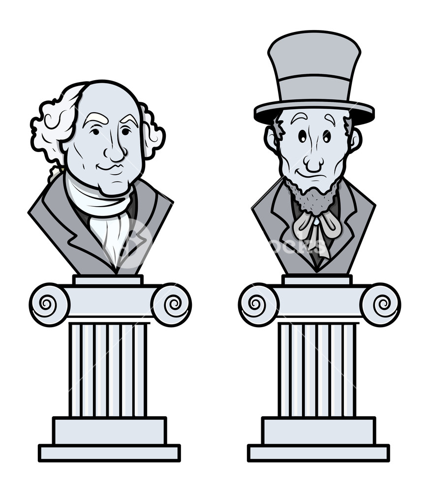 Sculpture Of Abraham Lincoln And George Washington Vector.