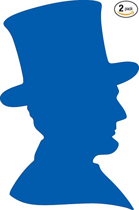 Amazon.com: Abraham Lincoln Silhouette (Azure Blue) (Set of.