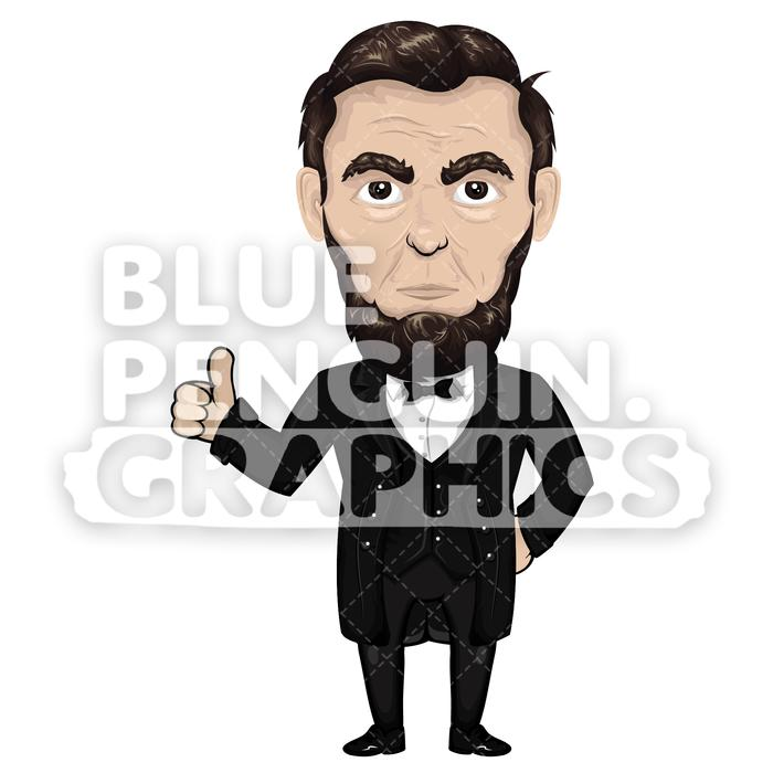 Abraham Lincoln Giving a Thumbs Up Vector Cartoon Clipart Illustration.