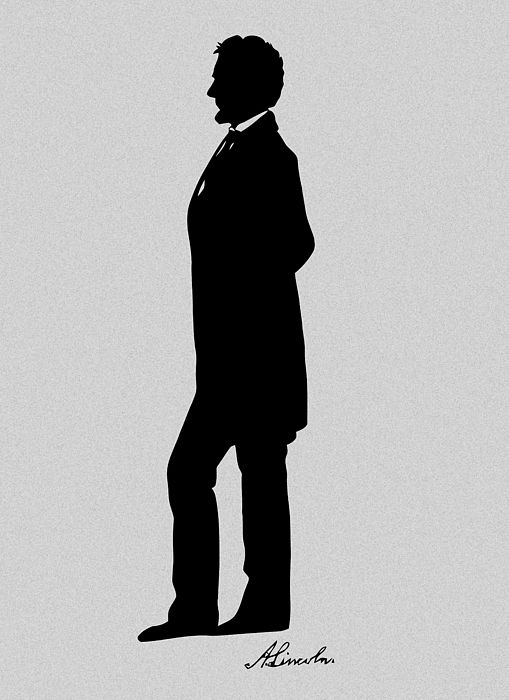 President Abraham Lincoln standing silhouette and Lincoln\'s.