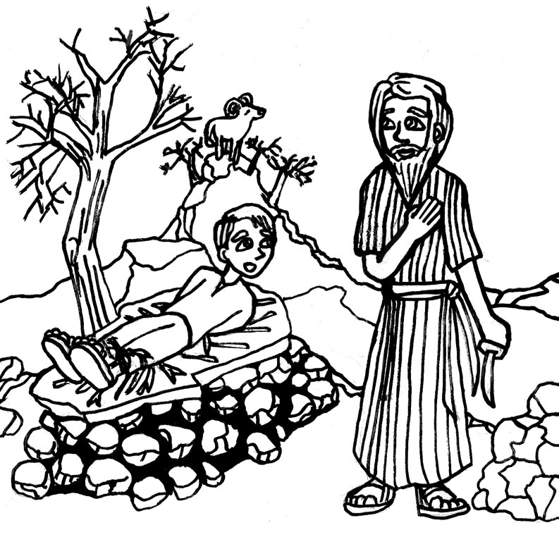 LDSFiles Clipart: Abraham and Isaac Coloring Page.