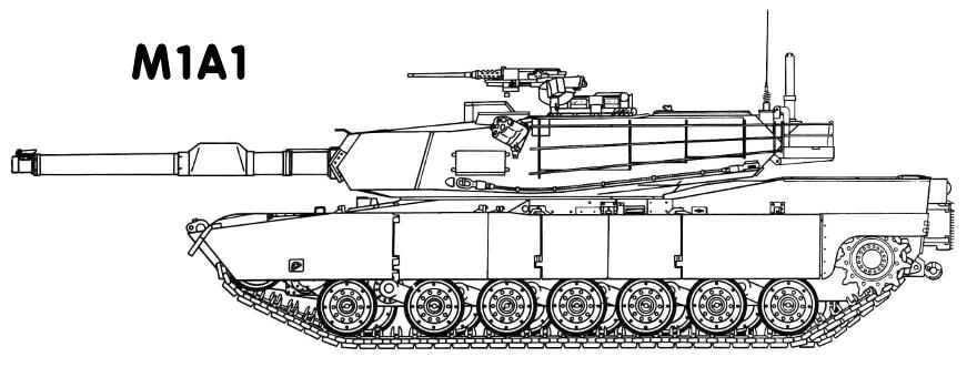 M1A1 Abrams tank outline.