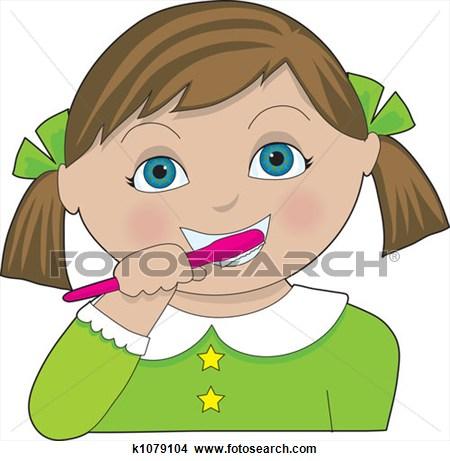 Girl Brushing Teeth.