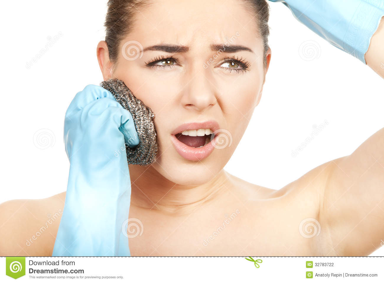 Body Care. Wrong Way To Scrab Your Face Stock Photography.