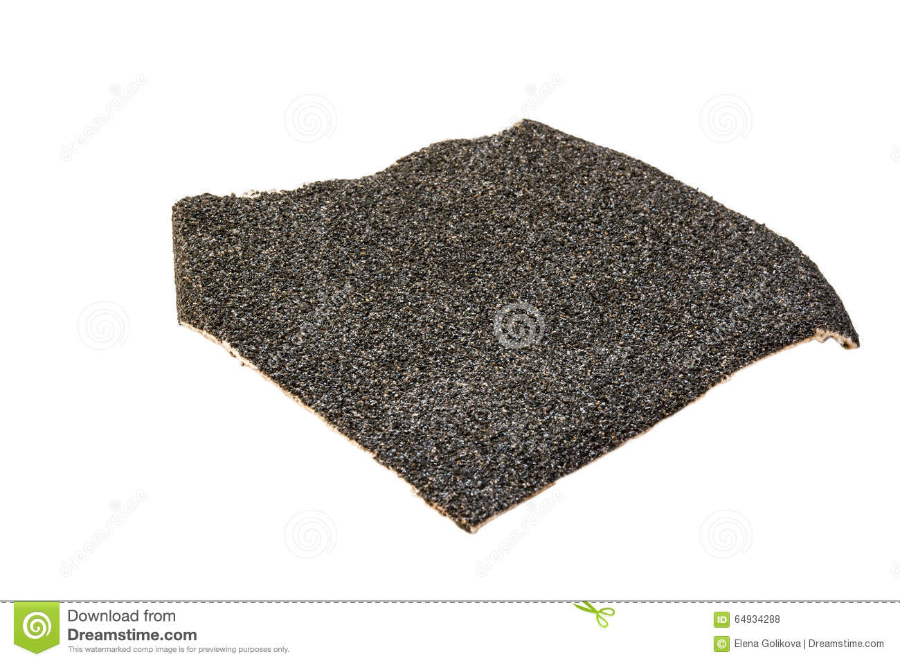 A Piece Of Black Sandpaper Stock Photo.