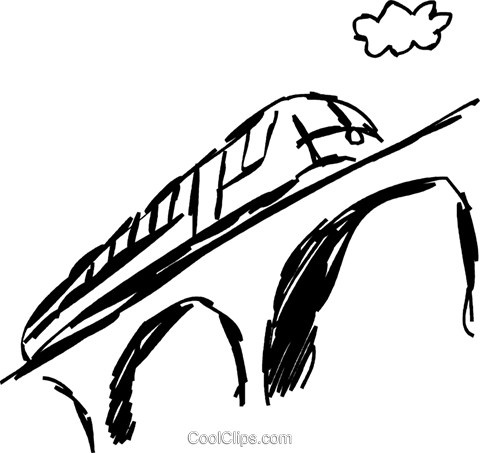 Train traveling over a bridge Royalty Free Vector Clip Art.