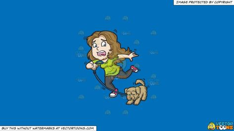 Clipart: A woman and her dog stopping abruptly on a Solid.
