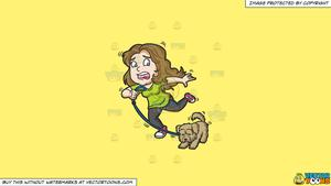Clipart: A woman and her dog stopping abruptly on a Solid Sunny Yellow  Fff275 Background.