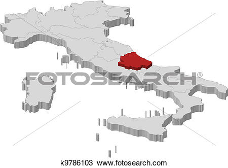 Clipart of Map of Italy, Abruzzo highlighted k9786103.