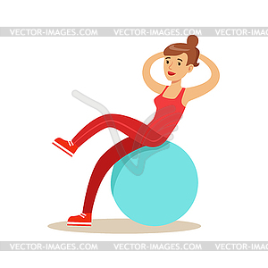Woman Training Abs On Rubber Ball, Member Of Fitnes.