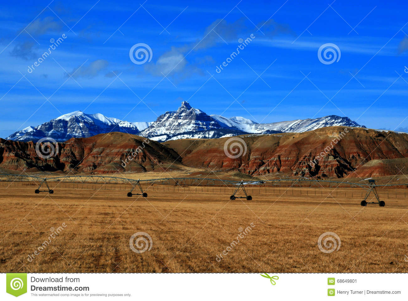 Dubois Wyoming Mountain Farming View Of Harvested Alfalfa Field In.