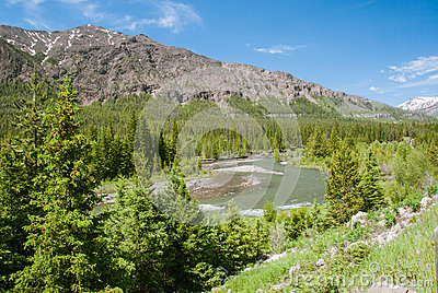 Yellowstone River & Absaroka Mountains Stock Photography.