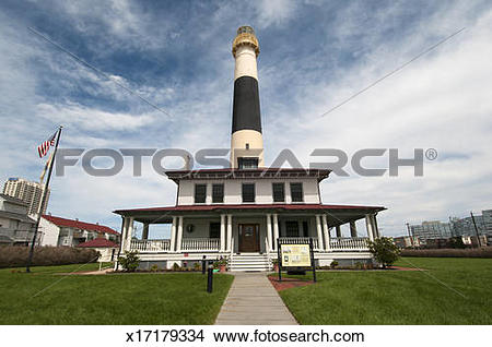 Stock Photo of Absecon Lighthouse and Lightkeeper's dwelling.